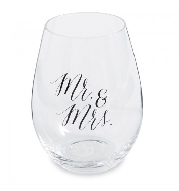 Mr. & Mrs. Wedding Stemless Wine Glasses