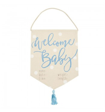 Welcome Baby Boy Tassel Banner
