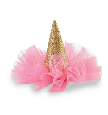 Gold Glitter Party Hat Clip
