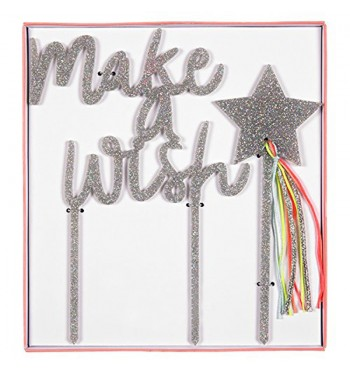 Make a Wish Silver Glitter Topper