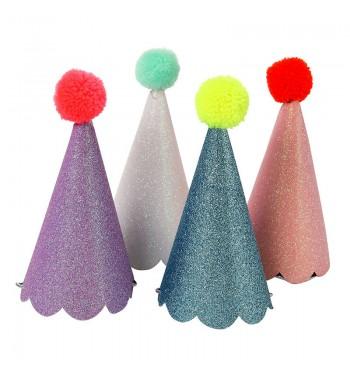 Glitter Pom Pom Party Hats