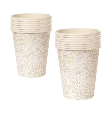 Gold Stylized Pattern Party Cups