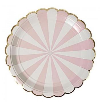 Radial Stripe Pink Dinner Plates