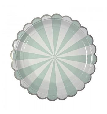 Radial Stripe Aqua/Mint Dinner Plates