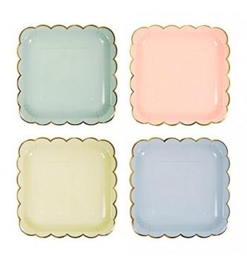 Square Scalloped Pastel Dessert Plates