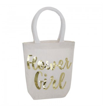 Flower Girl Gold Sequins Tote
