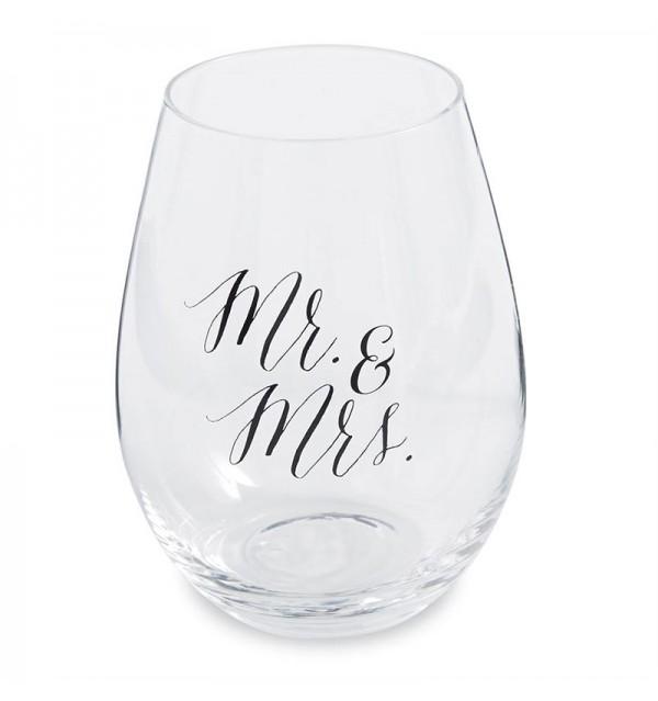 Mr. & Mrs. Wedding Stemless Wine Glasses