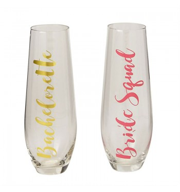 Bachelorette Bride Squad Stemless Champagne Glasses