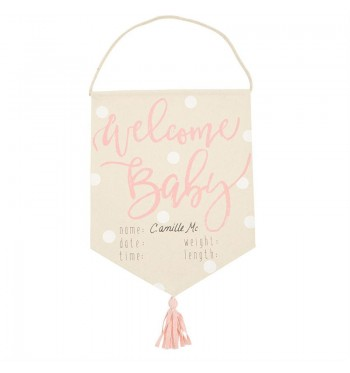 Welcome Baby Girl Tassel Banner