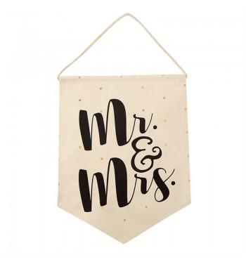 Mr. & Mrs. Canvas Decorative Hanger