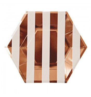 Rose Gold Striped Dinner Plates