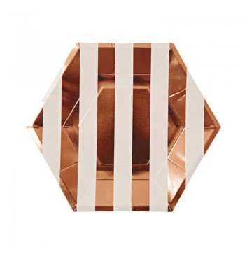 Rose Gold Striped Salad/Dessert Plates
