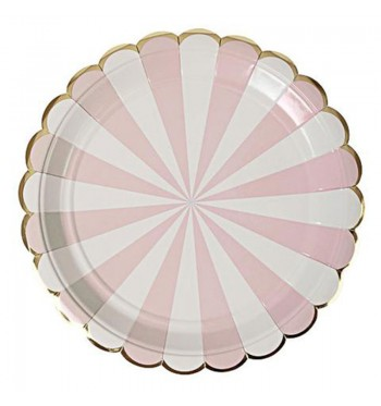 Radial Stripe Pink Dinner Plates