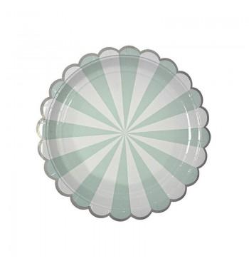 Radial Stripe Aqua/Mint Dessert Plates
