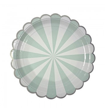 Radial Stripe Aqua/Mint Dinner Plates