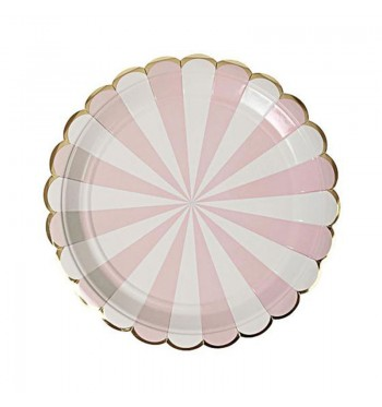Radial Stripe Pink Dessert Plates