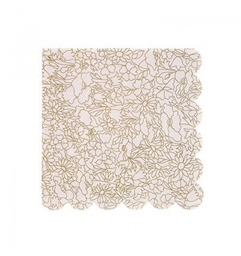 Gold Stylized Pattern Cocktail Napkins