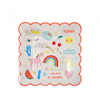 Unicorn Dreams Scalloped Dessert Plate
