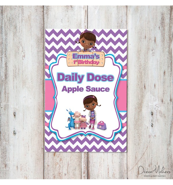 Doc Mcstuffins Party Food Sign 4 X 6 Daily Dose