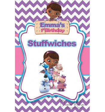 Doc Mcstuffins Party Food Sign 4 X 6 Stuffwiches