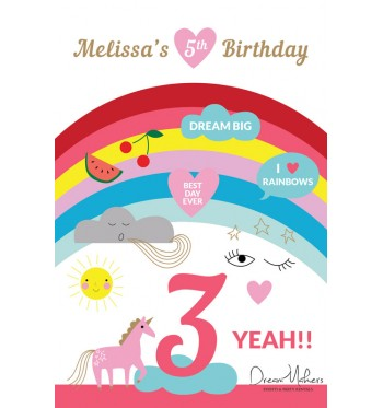 Rainbow Unicorn Dreams Party Table Number 3 Sign 4 X 6
