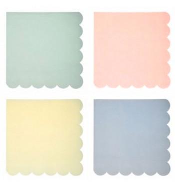 Scalloped Pastel Cocktail Napkins