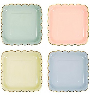 Square Scalloped Pastel Dinner Plates