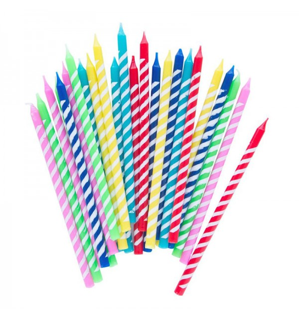 Multi Striped Party Candles