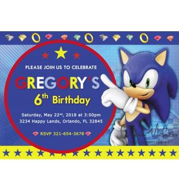 Sonic Party Birthday Invitation 5 X 7