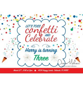 confetti party birthday invitation 5 x 7