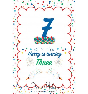 confetti party table number 7 sign 4 x 6
