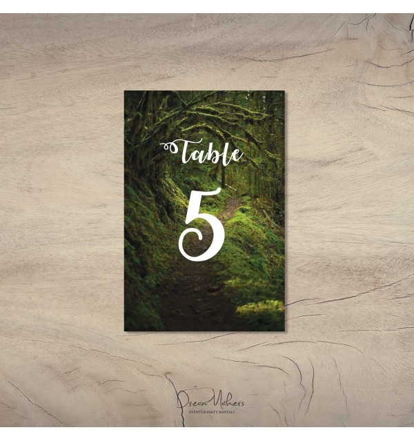 enchanted forest party table number 5 sign 4 x 6