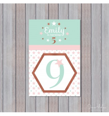 glitter glam diamond party table number 9 sign 4 x 6